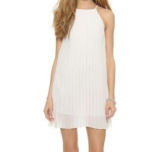 Line and Dot Summer Pleated short Dress White S